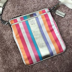 Coach Stripe Multicolor Crossbody Satin